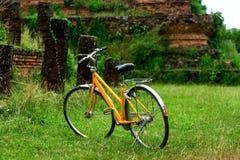 Bicicletta d'annata sul prato verde Immagine Stock Libera da Diritti
