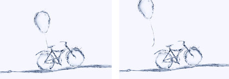Bicicletta dell'acqua e collage del pallone Immagine Stock Libera da Diritti