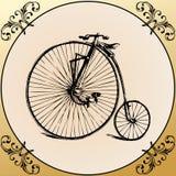 Bicicletta dell'annata con il blocco per grafici della decorazione Immagine Stock Libera da Diritti