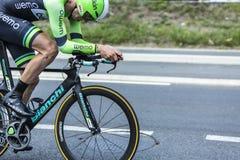 Bicicletta di Bianchi nell'azione - Tour de France 2014 Immagine Stock Libera da Diritti
