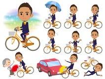 Bicicletta di black_city dell'uomo d'affari dei capelli di Berry Short Fotografia Stock