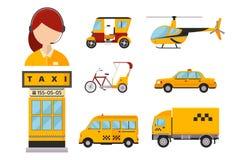 Bicicletta di city truck van helicopter del segno dell'icona di giallo di trasporto isolata taxi della carrozza ferroviaria dell' royalty illustrazione gratis
