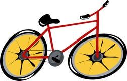 Bicicletta di colore rosso del fumetto Fotografia Stock