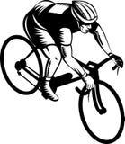 Bicicletta di guida del ciclista Immagini Stock