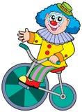 Bicicletta di guida del pagliaccio del fumetto Fotografia Stock