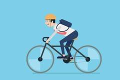 Bicicletta di guida dell'uomo d'affari Immagine Stock Libera da Diritti