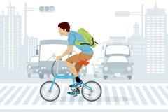 Bicicletta di guida dell'uomo nell'ora di punta illustrazione di stock