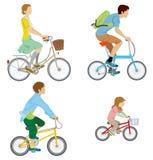 Bicicletta di guida della varia gente, isolata illustrazione di stock