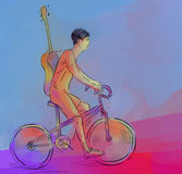 Bicicletta e musica Immagine Stock