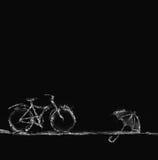 Bicicletta ed ombrello neri dell'acqua Fotografia Stock