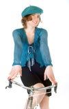Bicicletta francese di guida della donna Fotografia Stock Libera da Diritti