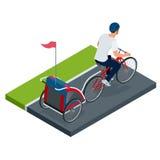 Bicicletta isometrica con il rimorchio della bici dei bambini Fotografie Stock