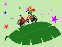 Bicicletta in permesso verde con la stella Concetto di Eco, illustrazione Fotografie Stock