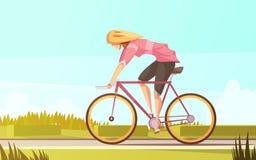 Bicicletta Rider Woman Composition Immagini Stock
