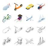 Bicicletta, risciò, aereo, yacht Icone stabilite della raccolta di trasporto nel fumetto, illustrazione delle azione di simbolo d Immagini Stock