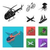 Bicicletta, risciò, aereo, yacht Icone stabilite della raccolta di trasporto nel web nero e piano dell'illustrazione delle azione Fotografie Stock