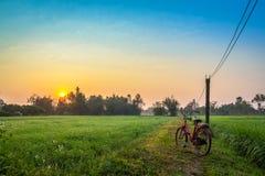 Bicicletta rossa con il fondo rurale di vista immagine stock libera da diritti