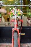 Bicicletta rossa e fuoco molle dei fiori variopinti Fotografie Stock Libere da Diritti