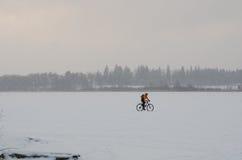 Bicicletta su un lago congelato Fotografie Stock Libere da Diritti