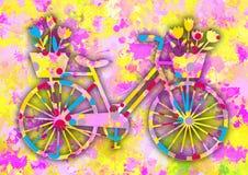 Bicicletta variopinta d'annata con i fiori Fotografia Stock Libera da Diritti