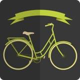 Bicicletta verde e beige di retro immagine disegnata Fotografia Stock