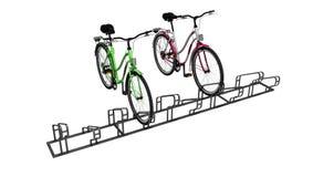 Biciclette con il lotto della bicicletta della fermata locale 3D non rendere su fondo bianco ombra illustrazione di stock
