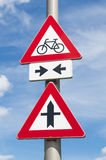 Biciclette del segnale stradale Fotografia Stock Libera da Diritti