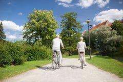 Biciclette di guida delle coppie senior al parco di estate immagine stock libera da diritti