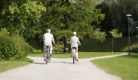 Biciclette di guida delle coppie senior al parco di estate fotografie stock libere da diritti