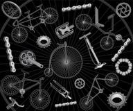 Biciclette e parti di recambio Illustrazione di Stock
