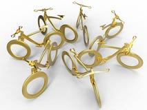 Biciclette futuristiche dorate illustrazione di stock