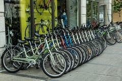 Biciclette locative su esposizione Fotografia Stock
