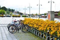 Biciclette parcheggiate sulla via di Lappeenranta Fotografia Stock Libera da Diritti