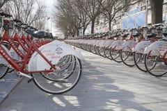 Biciclette pubbliche Fotografie Stock
