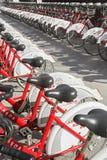Biciclette pubbliche Fotografia Stock