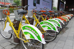 Biciclette pubbliche a Nanhai Fotografie Stock