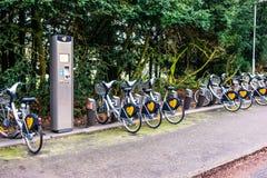 Biciclette pubbliche parcheggiate che fa parte del sistema d'affitto in Svezia Immagine Stock Libera da Diritti