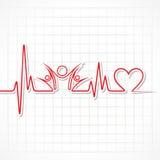 Bicie serca z zegarowym symbolem w lineHeartbeat z jedność symbolem w linii Zdjęcie Royalty Free