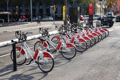 Bicing bicycle sharing station in Barcelona Stock Photography