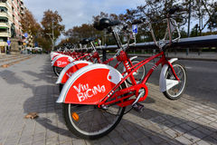 Bicing Bicycles - Barcelona, Spain Stock Photo