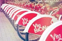Bicing, public bike renting service in Barcelona Stock Images