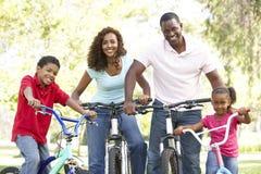 Bicis jovenes del montar a caballo de la familia en parque Imagen de archivo