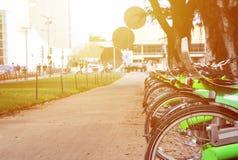 Bicis verdes para el alquiler en una calle central en un día soleado Imagen de archivo libre de regalías