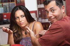 Bickering Couple in Cafe Stock Photo