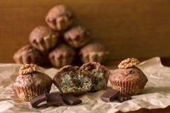 Bicolor булочки с шоколадом, маками и грецкими орехами на бумаге Стоковые Изображения