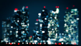 Bicolor blurred lights of skyscrapers in night city Royalty Free Stock Image