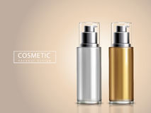 Bicolor cosmetic bottles Royalty Free Stock Image