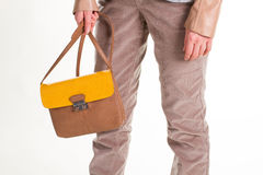 Bicolor leather bag. Royalty Free Stock Photography