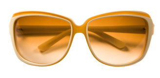 Bicolor rimmed yellow white sunglasses. Isolated on white background. Clipping pathh included Royalty Free Stock Photos