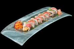 Bicolor Sushi Roll. Sushi Plate Isolated On Black Studio Shot Royalty Free Stock Images